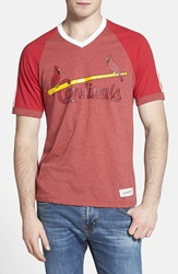Mitchell Ness 'St. Louis Cardinals' V Neck T Shirt Scarlet Red