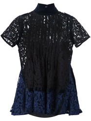 Sacai Pintuck Lace Blouse Black