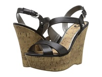 G By Guess Helix Black Burnished Calf Pu Women's Wedge Shoes