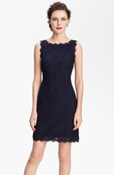 Petite Women's Adrianna Papell Boatneck Lace Sheath Dress Navy