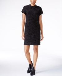 Maison Jules Textured Collar Shift Dress Only At Macy's Deep Black Combo