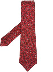 Kiton Abstract Pattern Tie Red
