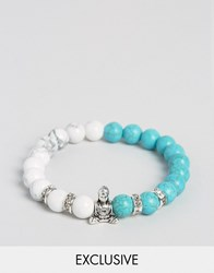 Reclaimed Vintage Turquoise And Marble Beaded Buddah Bracelet Multi