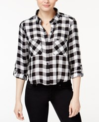 Polly And Esther Juniors' Cropped Plaid Shirt Black White