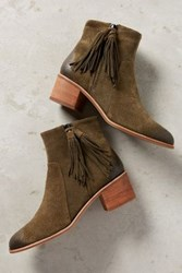 Anthropologie Miss Albright Amarie Tassel Booties Moss