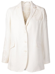 Etro Embroidered Long Blazer White