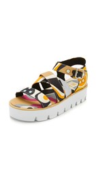 Msgm Criss Cross Wedge Sandals Multi