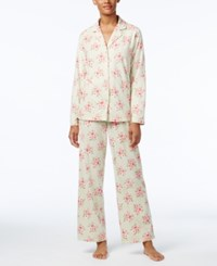 Charter Club Printed Fleece Pajama Set Only At Macy's Mint Roses