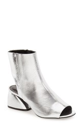 Topshop Women's 'Panama' Peep Toe Bootie Silver Leather