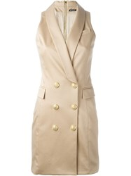 Balmain Sleeveless Waistcoat Dress Brown