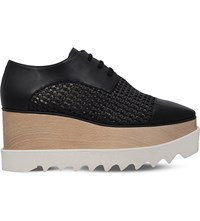 Stella Mccartney Elyse Straw Flatform Derby Shoes Black