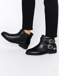 Truffle Collection Fred Buckle Strap Chelsea Boots Black Pu