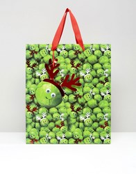 Paperchase Christmas Sprouts With Antlers Large Gift Bag Multi