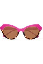 Preen Beatrix Round Frame Acetate Sunglasses Purple