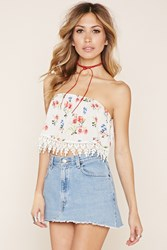 Forever 21 Strapless Floral Crop Top