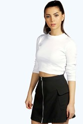 Boohoo Ribbed Turtle Neck Long Sleeve Crop Top White