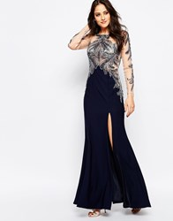 Forever Unique Sapphire Maxi Dress With Embellished Mesh Sleeves Navy
