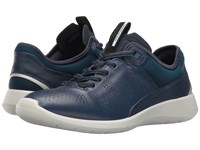 Ecco Soft 5 Sneaker True Navy Poseidon Black Cow Leather Textile Women's Lace Up Casual Shoes Blue