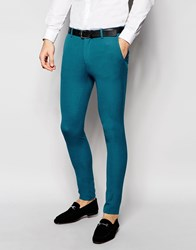 Asos Super Skinny Suit Trousers In Turquoise Turquoise Blue