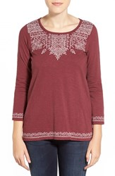 Women's Lucky Brand Placed Embroidery Tee