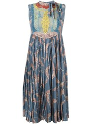 Valentino Bird Print Lace Panel Dress Blue
