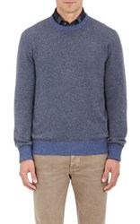 Luciano Barbera Men's Cashmere Elbow Patch Sweater Light Blue