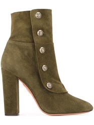 Aquazzura Button Detail Ankle Boots Green