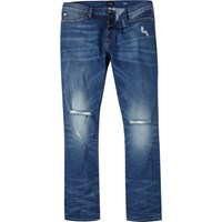 River Island Mens Mid Blue Wash Ripped Dylan Slim Jeans