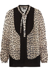 Just Cavalli Crepe Paneled Leopard Print Silk Chiffon Top