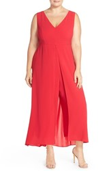 Plus Size Women's Adrianna Papell V Neck Chiffon Overlay Jumpsuit Flare Red