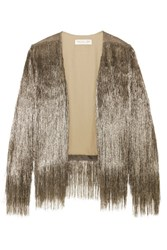Rachel Zoe Isla Fringed Open Knit Jacket Copper