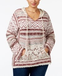 American Rag Trendy Plus Size Southwestern Hoodie Sweater Only At Macy's Egret Combo