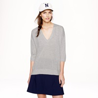 J.Crew Collection Featherweight Cashmere Drape Sleeve V Neck Sweater