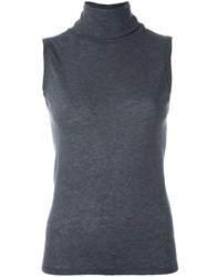 Majestic Filatures Turtleneck Sleeveless Knit Blouse Grey