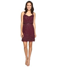 Adrianna Papell Spaghetti Strap Cocktail Dress W Fringe Cassis Women's Dress Purple