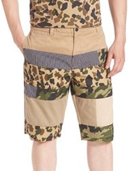 Prps Pieced Mixed Media Camo Shorts Khaki