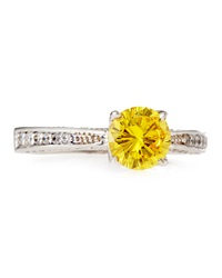 Fantasia Canary Cz Pave Band Solitaire Ring 7
