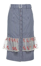 Rahul Mishra Gingham Pencil Skirt Blue
