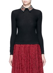 Alice Olivia 'Brooke' Bird Embroidered Collar Textured Sweater Black