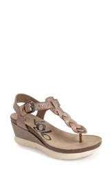 Otbt Women's 'Graceville' Platform Wedge Sandal Light Pewter Leather