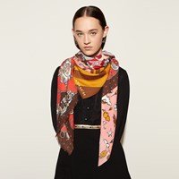 Coach Printed Patchwork Shawl Red
