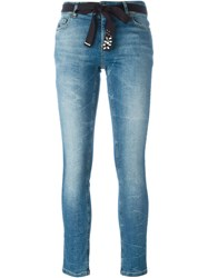 Twin Set Belted Skinny Jeans Blue
