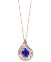 Effy Collection Effy Tanzanite 2 5 8 Ct. T.W. And Diamond 1 2 Ct. T.W Swirl Pendant Necklace In 14K Rose Gold Purple