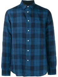 Rag And Bone Rag And Bone Beach Plaid Long Sleeve Shirt Blue