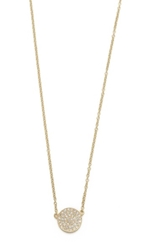 Ef Collection Medium Pave Diamond Disc Necklace Yellow Gold Clear