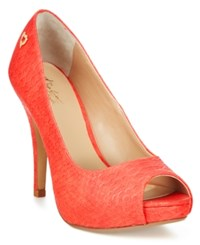 Thalia Sodi Cereza Peep Toe Pumps Only At Macy's Women's Shoes Rich Coral