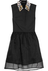 Markus Lupfer Jasmine Appliqued Cotton And Silk Organza Mini Dress Black