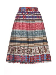 Stella Jean Multicoloured Pleated Cotton Skirt