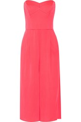 Milly Strapless Stretch Silk Crepe Jumpsuit Pink