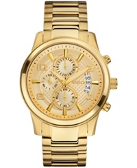 Guess Men's Chronograph Gold Tone Stainless Steel Bracelet Watch 44Mm U0075g5